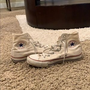 """Converse white high tops """"chuck taylors"""" sneakers"""